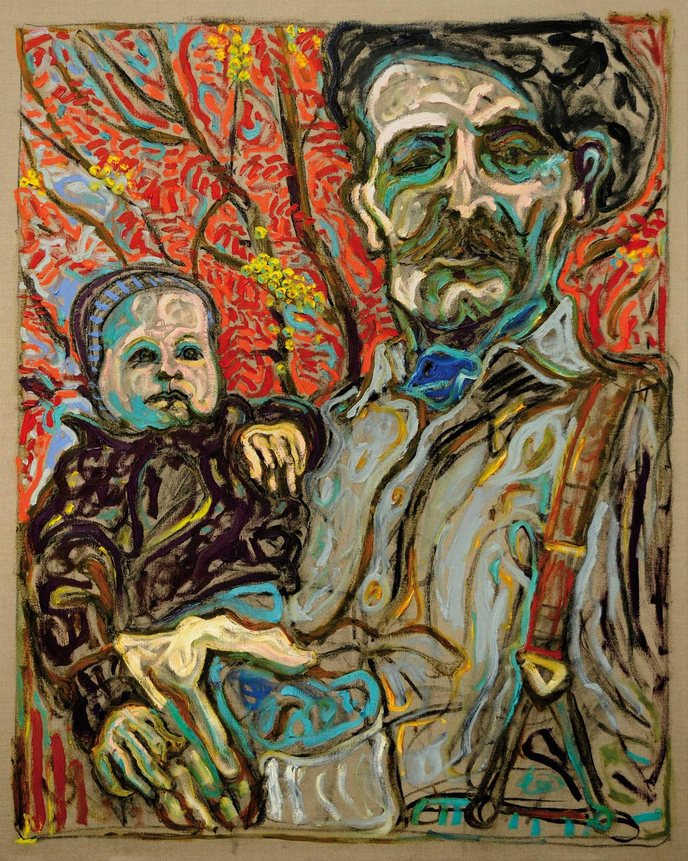 BILLY CHILDISH · With Scout Under Rowan Tree 2011 · Öl und Kohle auf Leinwand · 152 x 122 cm courtesy of the L-13 Light Industrial Workshop