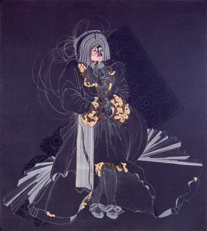»Bouciera« · 2008 · Siebdruck auf Samt, Flockdruck, Stickerei, Filz von Franziska Leischker