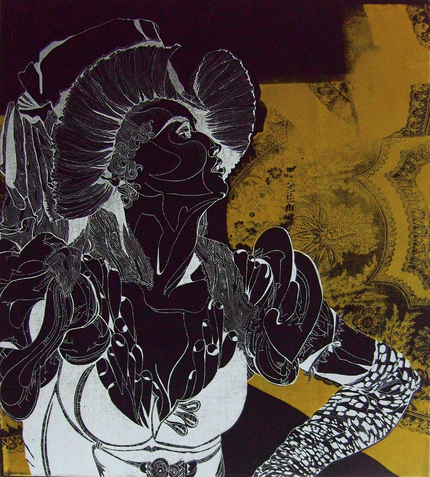 »Cornute« · 2008 Siebdruck und Flockdruck auf Samt von Franziska Leischker