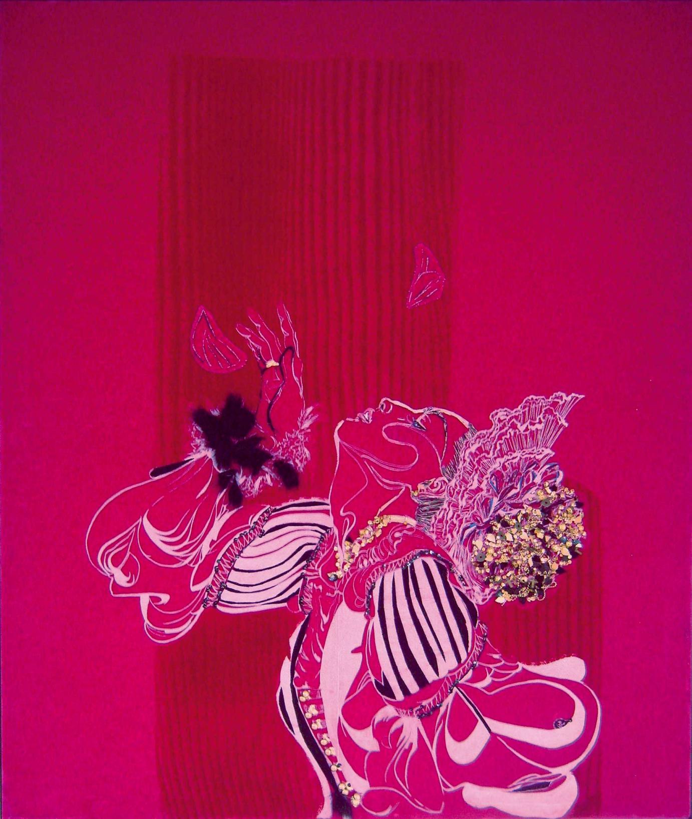 »Flitterhaid« · 2008 Siebdruck, Flockdruck, Stickerei und Aplikationen auf Samt von Franziska Leischker