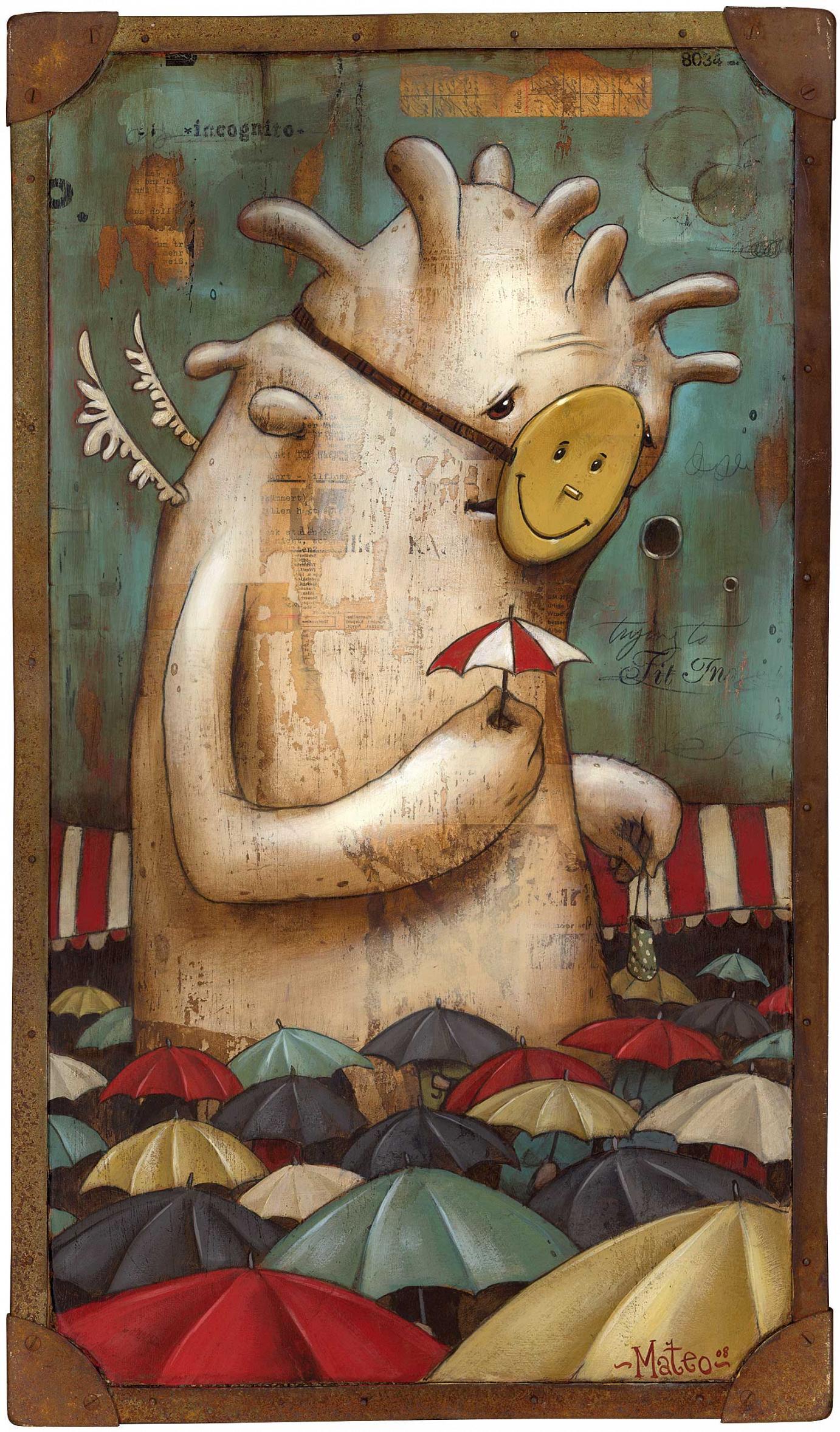 Mateo »Incognito« Acryl und Collage auf Holz 40 cm x 70 cm