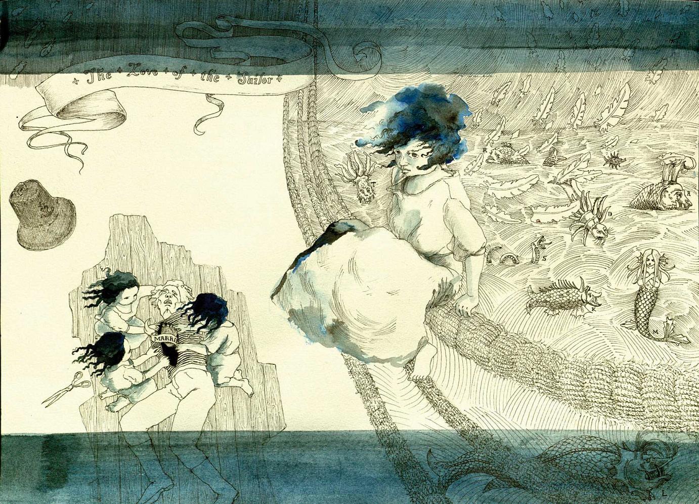 »Marrie pt. 2« · 2008 Zeichnung, Tusche 28 cm x 39 cm