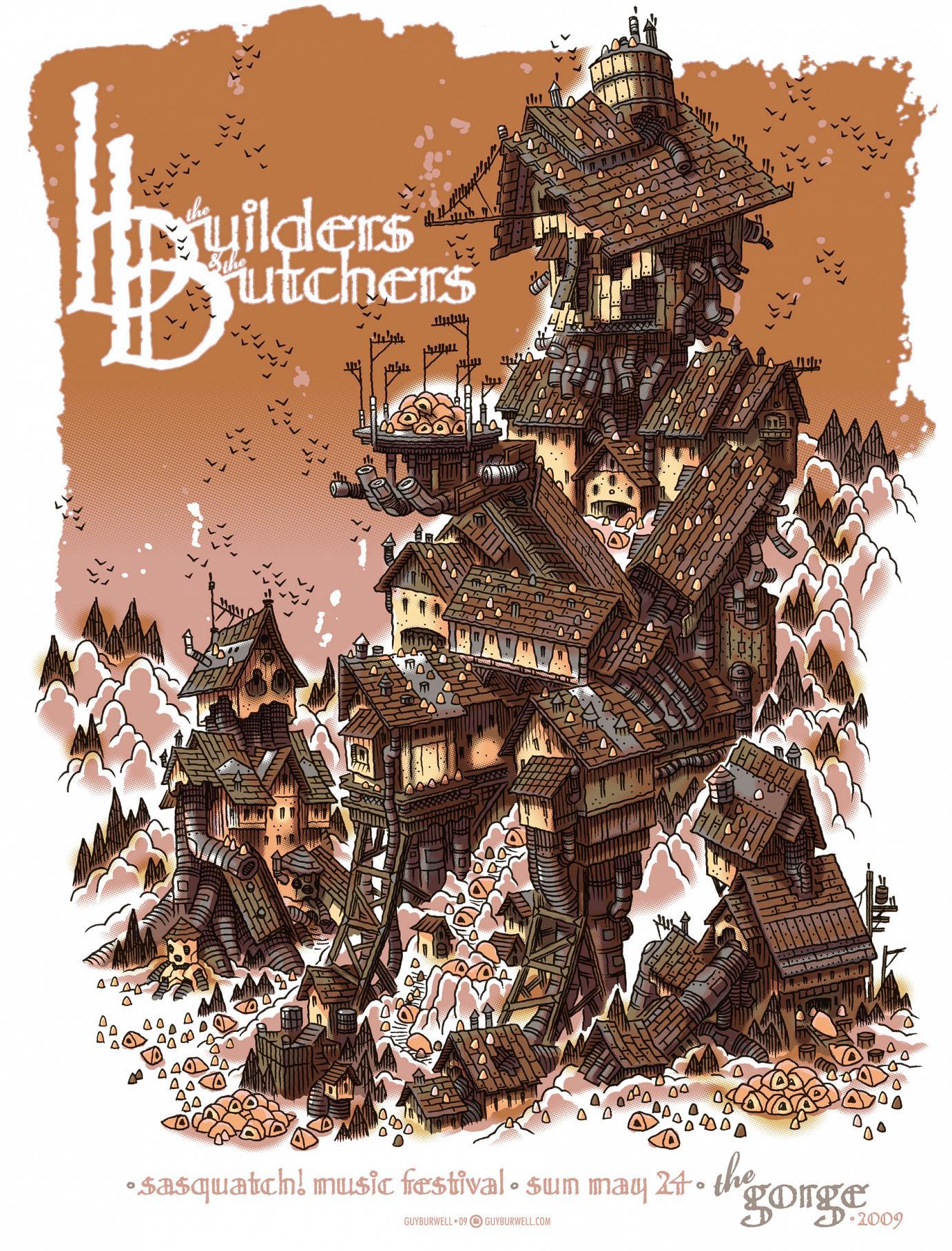 Guy Burwells Konzertplakat für den Auftritt von The Builders & The Butchers beim Sasquatch Music Festival 2009 fünffarbiger Siebdruck · 60 x 44,5 cm · Auflage 110 Stück