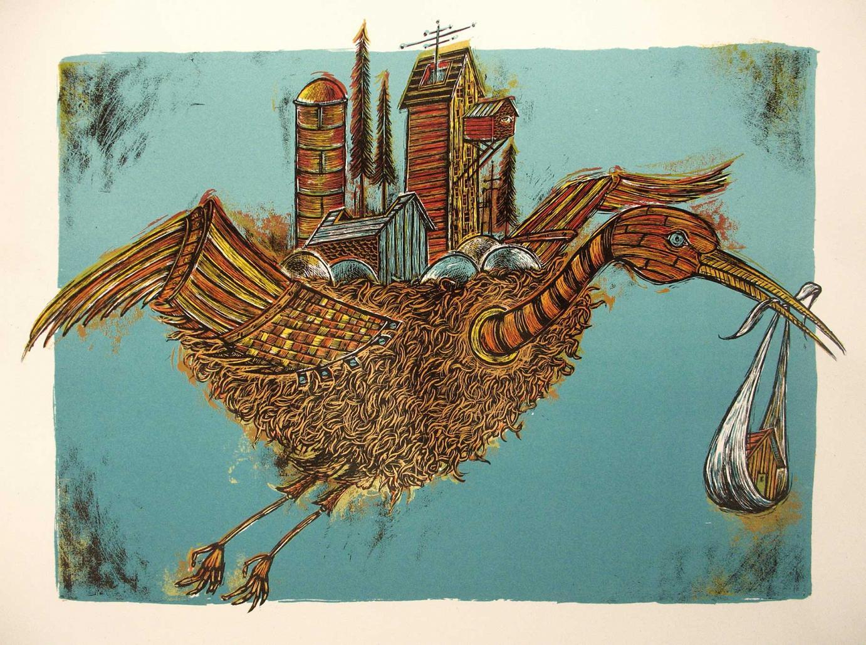Serigraphie »AIRLIFT« · 2009 · Siebdruck mit 5 Sieben von Dan Grzeca