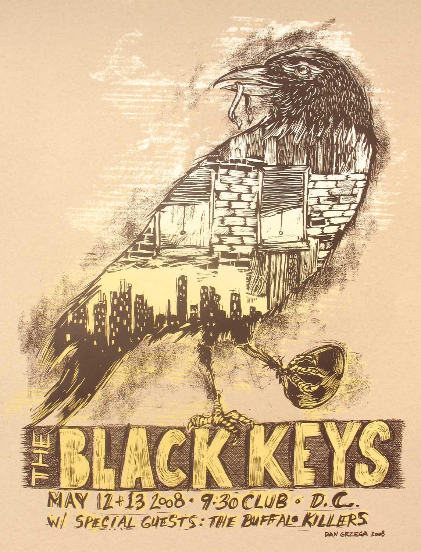 Plakat THE BLACK KEYS · 2008 · Siebdruck mit 2 Sieben von Dan Grzeca