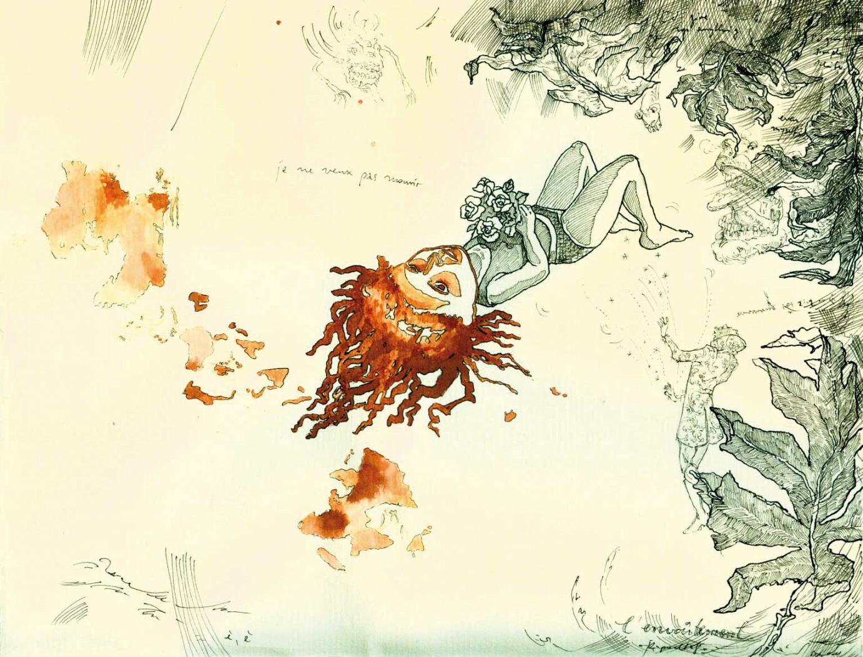 »Die Verzauberung der N.« · 2008 Fineliner, Tusche · 20 cm x 30 cm