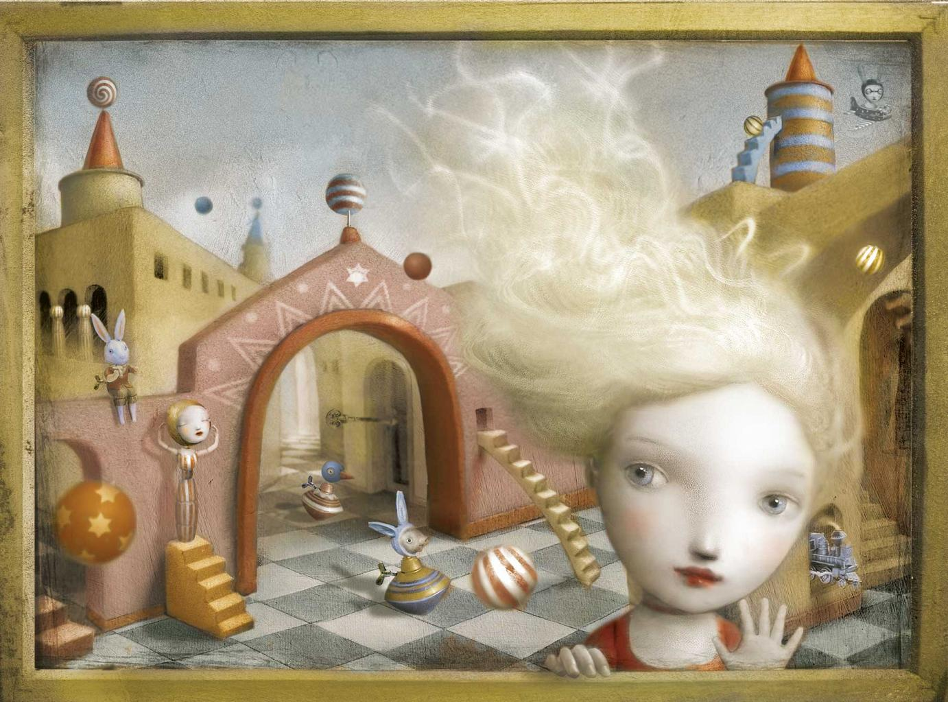 »Last Hello« · 2006 · Mischtechnik und digital · 41 cm x 31 cm · Illustartion aus dem Buch »The Girl in the Castle inside the Museum« von Nicoletta Ceccoli