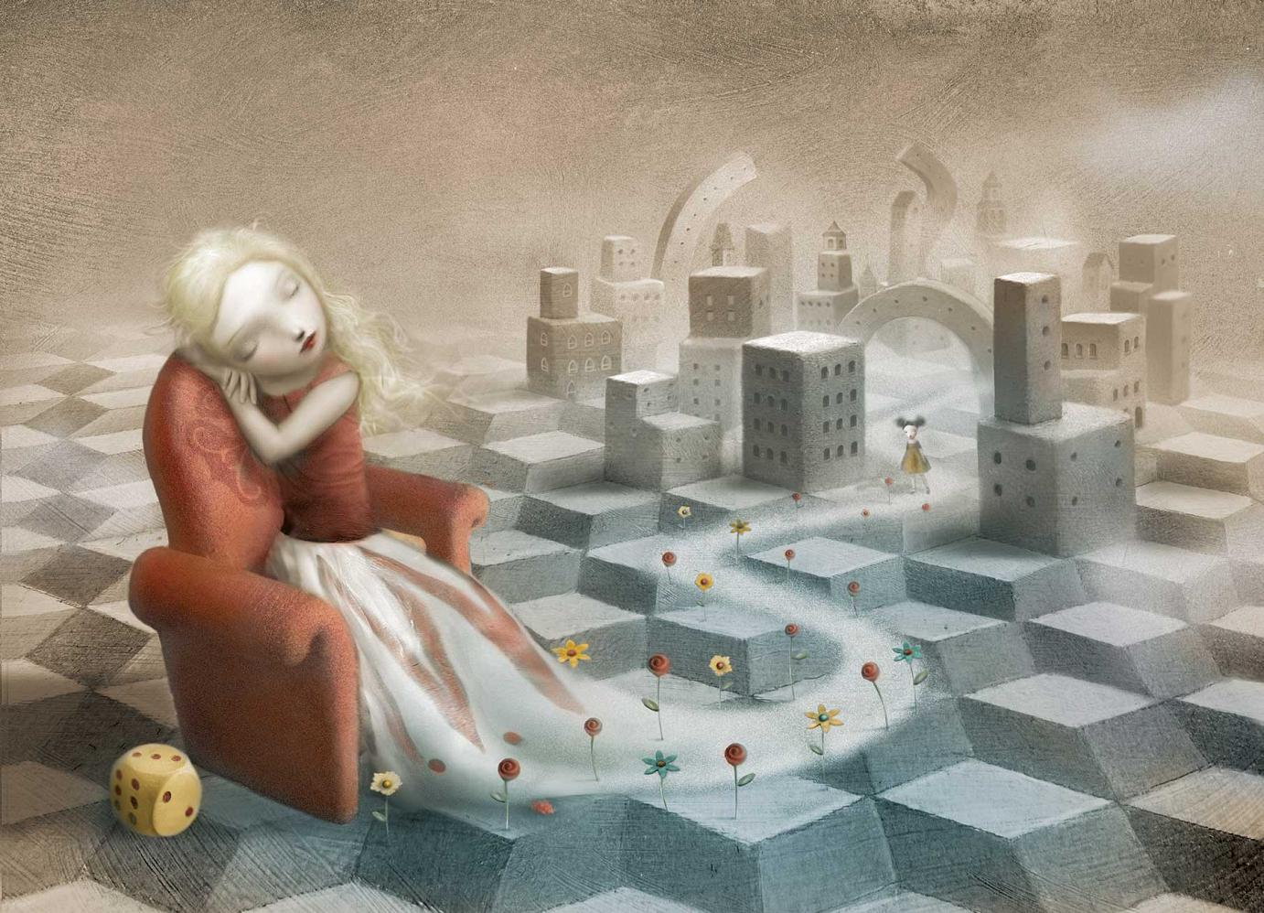 »Girl Dream« · 2006 Mischtechnik und digital 41 cm x 31 cm Illustration aus dem Buch »The Girl in the Castle inside the Museum« von Nicoletta Ceccoli