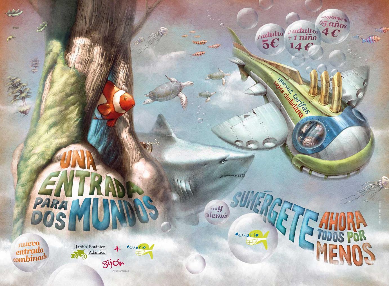Werbekampagne für ein neues, ermäßigtes Kombiticket, das den Besuch von Botanischem Garten und Aquarium in einem erlaubt. Gijón (Asturias - Spanien). Herbst-Winter 2012.