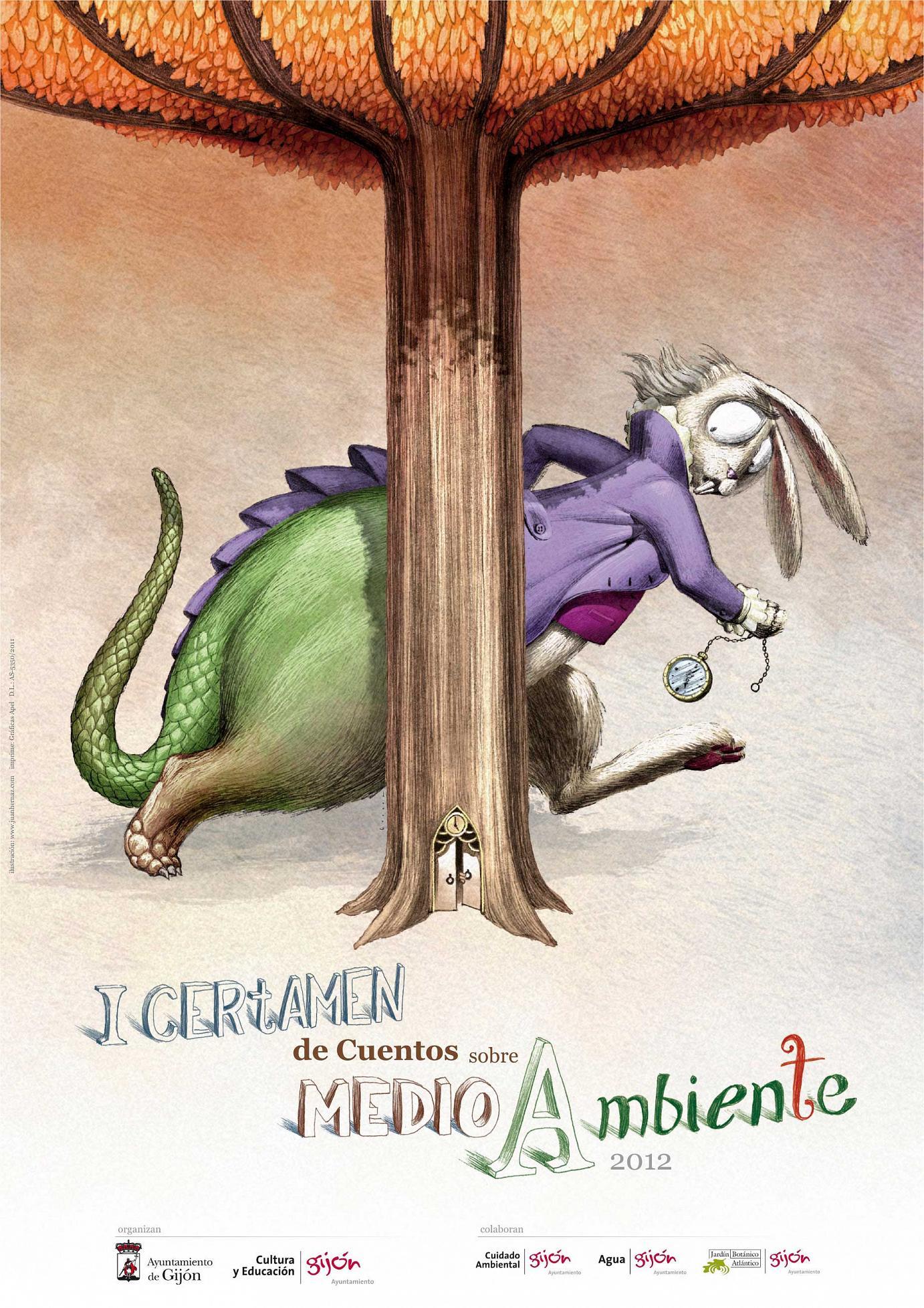 Illustration anlässlich des ersten Geschichtenwettbewerbs zum Thema »Umwelt«, eine Veranstaltung der Stadtverwaltung von Gijón. November 2011 - Mai 2012.
