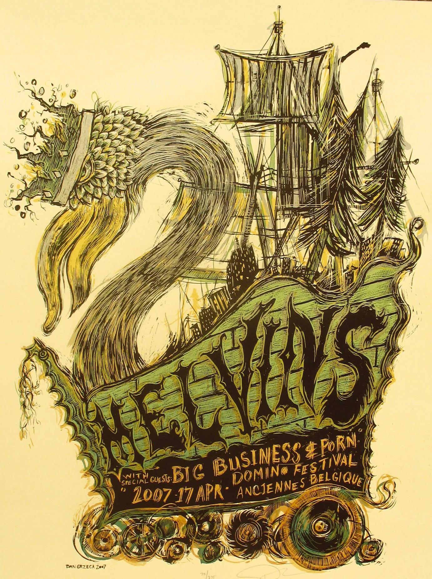 Plakat Melvins · 2007 · Siebdruck mit 4 SIEBEN von Dan Grzeca