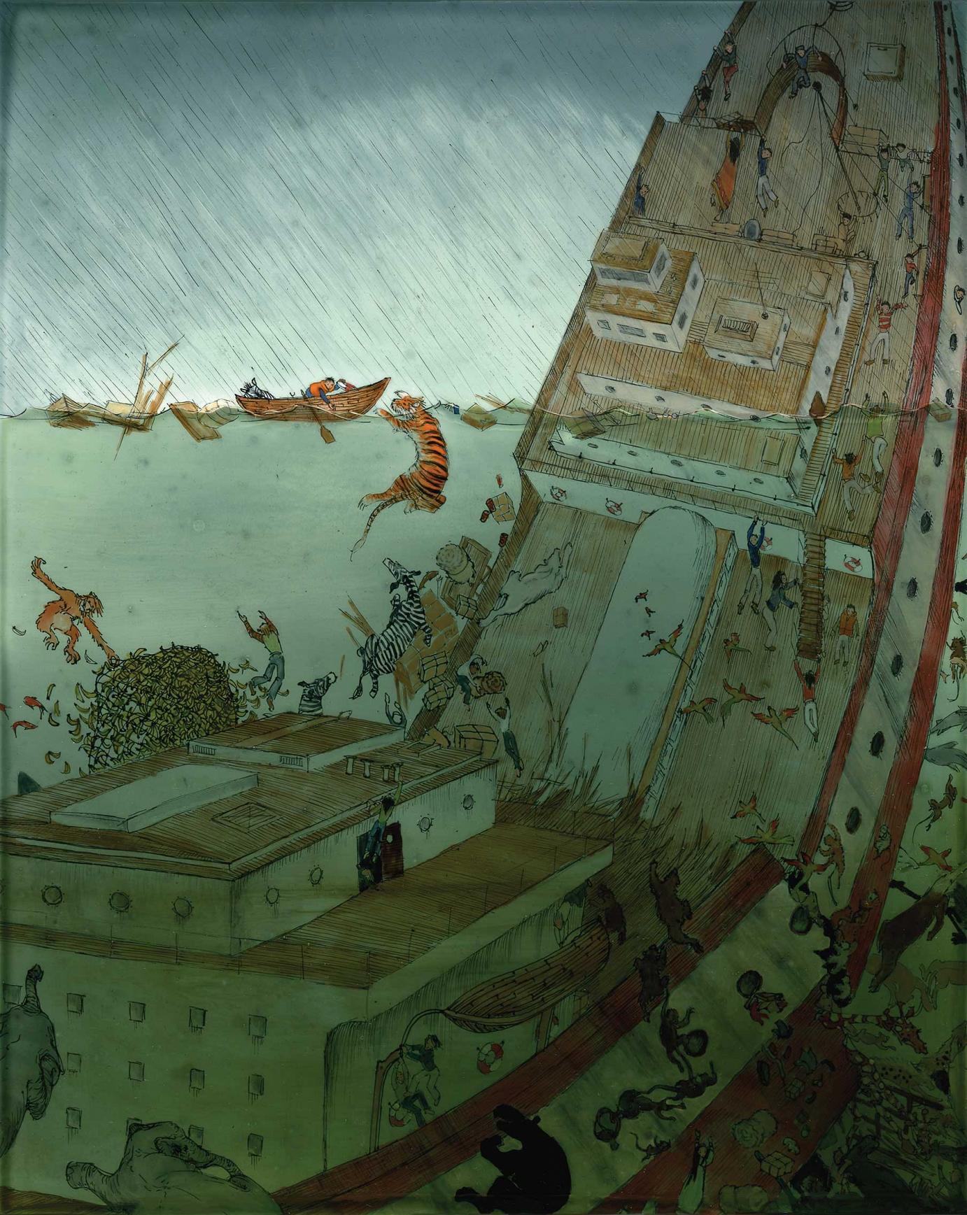 Andrea Offermann »The Ship Sank« Tusche/Finelinerzeichnung auf Clayboard mit Öllasuren ca. 20,3 cm x 25,4 cm