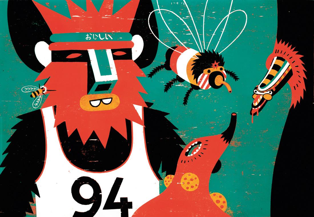 The Observer 2011 · Holzschnitt · 47,4 x 68,8 cm von Roman Klonek