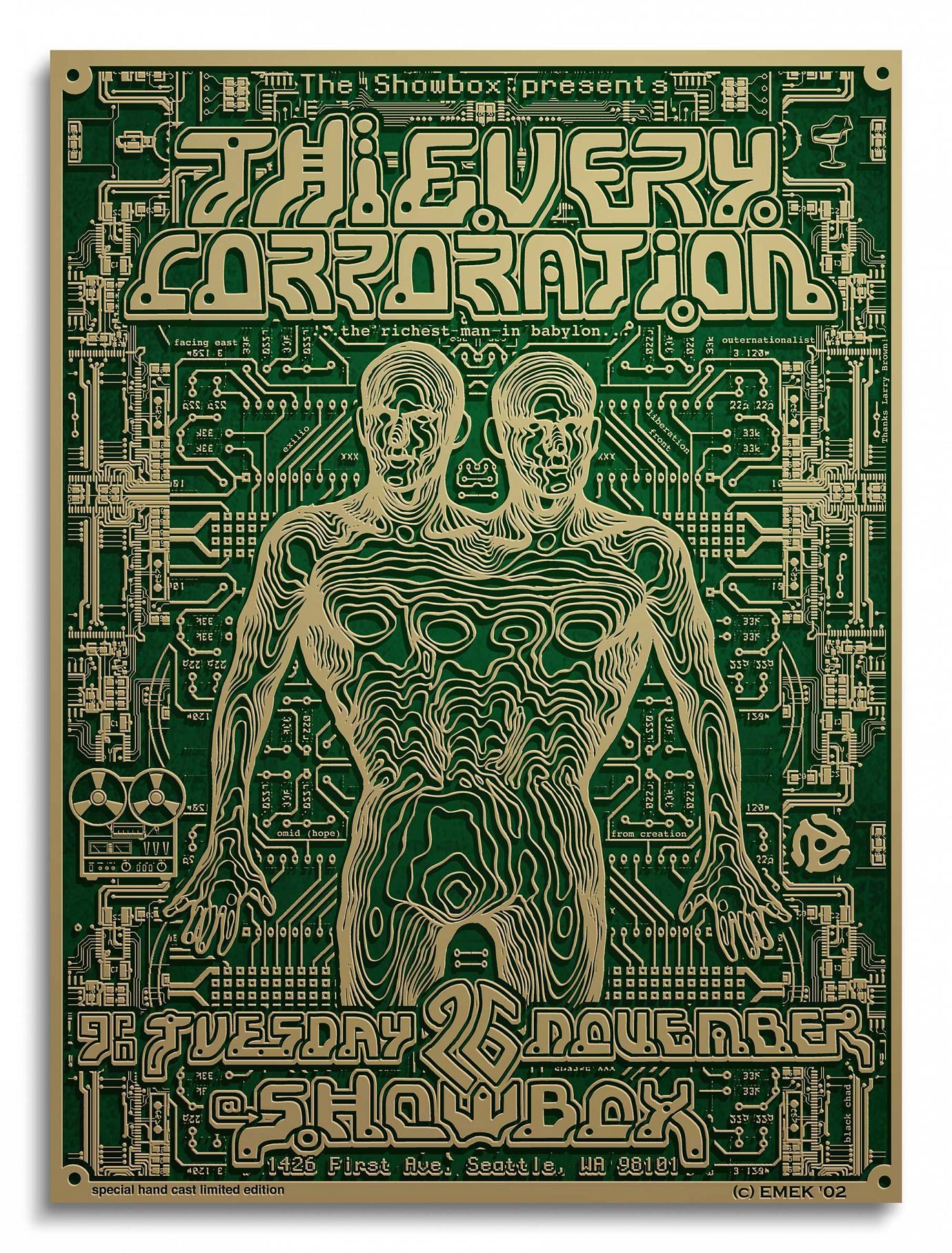 3D-Plakat »Thievery CorPoration« 45,7 cm x 70 cm x 1,3 cm 3d-Guss bemalt 2002