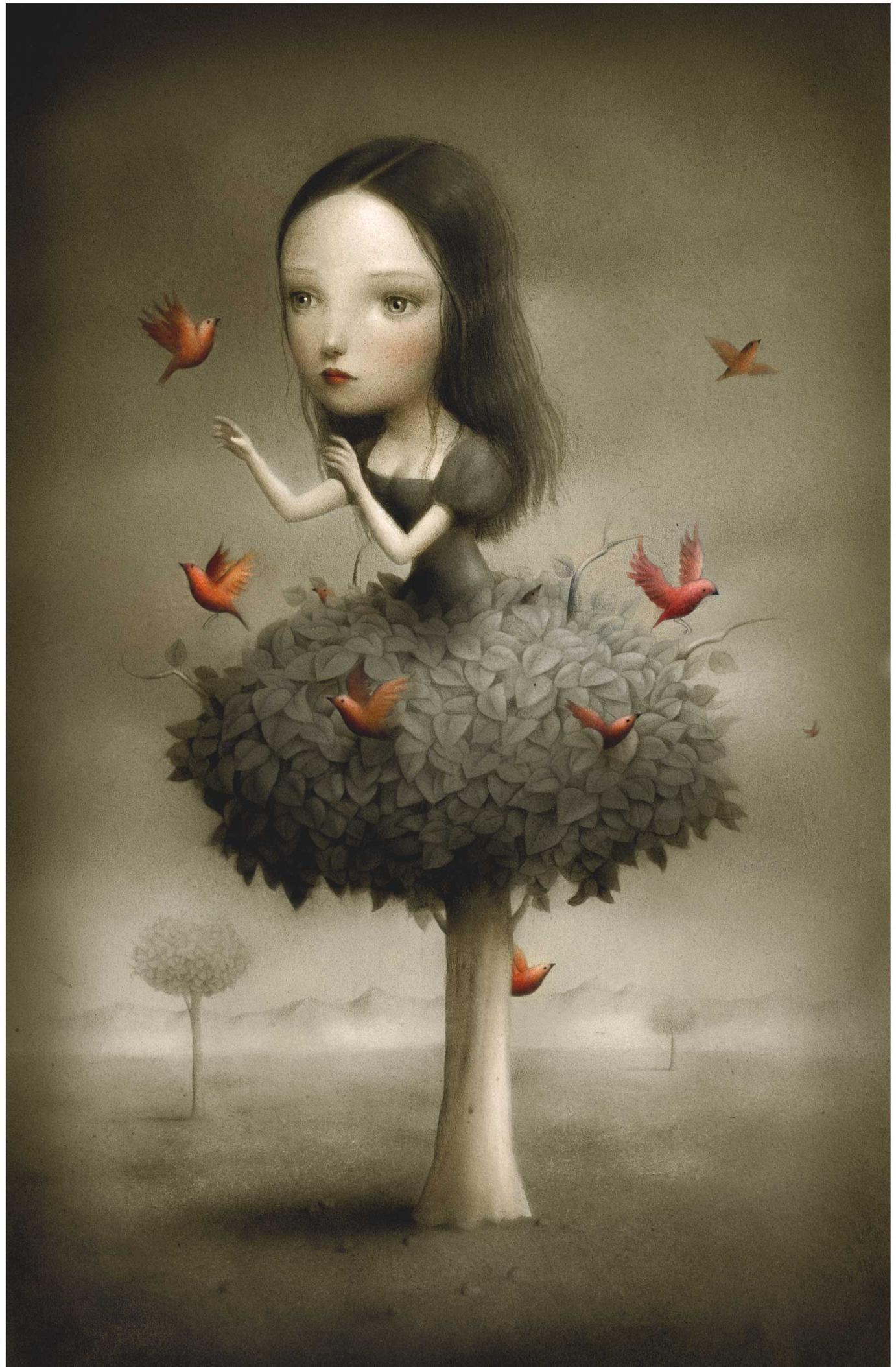 »Tree Girl« 2007 Acryl auf Papier 32 cm x 50 cm von Nicoletta Ceccoli