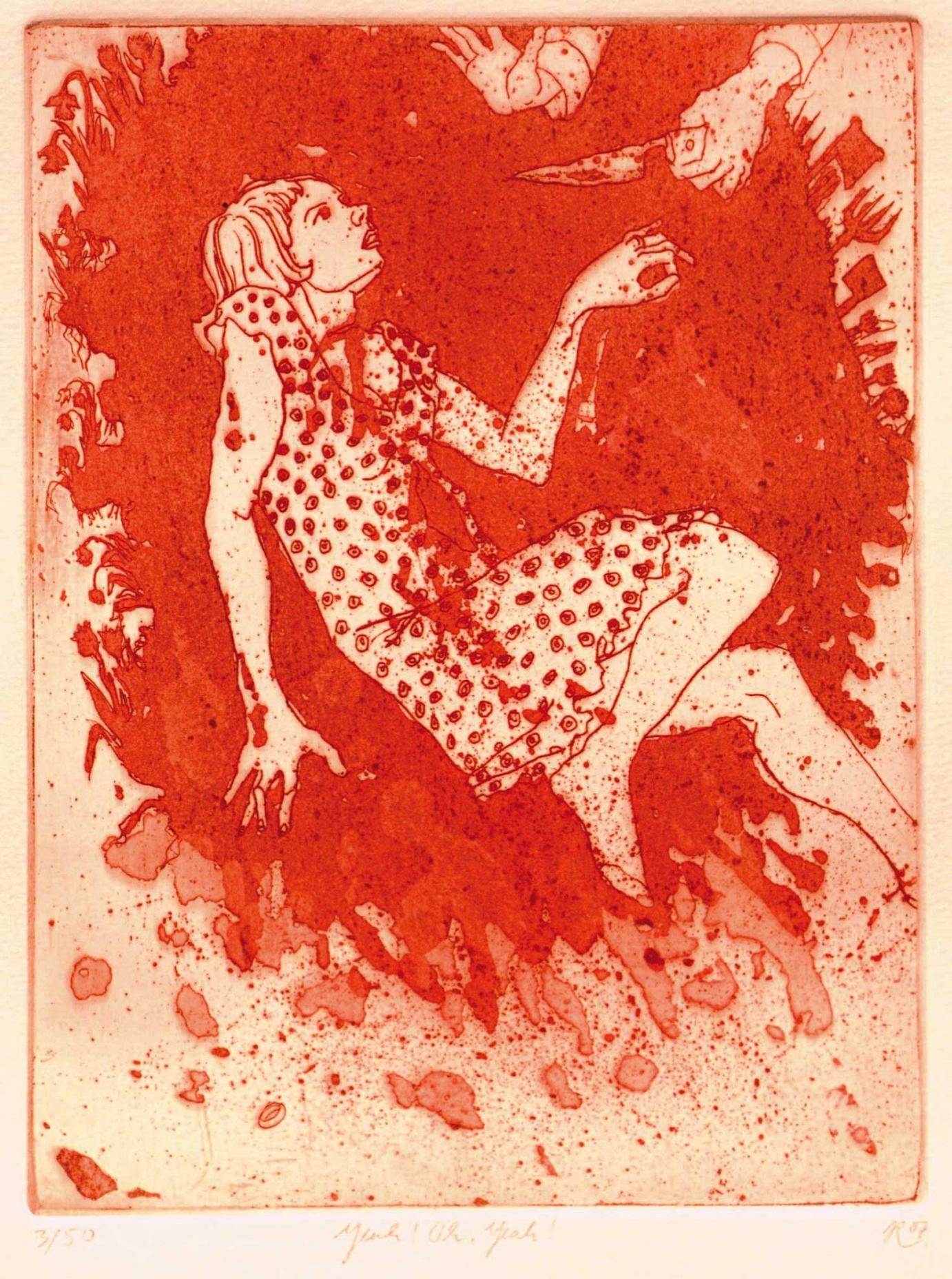 »Yeah! Oh, Yeah!« aus der Serie »69 Illovestrations« · 2006 Radierung, Aquatinta, Reservage · 15 cm x 20 cm · Auflage 50